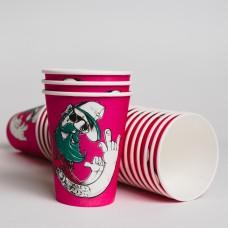 Стакан бумажный 350мл СУПЕРКАП Хипстер розовый (50шт/пак)