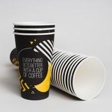 Стакан паперовий 450мл СУПЕРКАП Euro Black Yellow (50шт/пак)