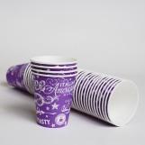 Стакан бумажный 175мл СУПЕРКАП Purple (50шт/пак)